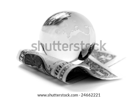 Globe and american dollar on white background. - stock photo