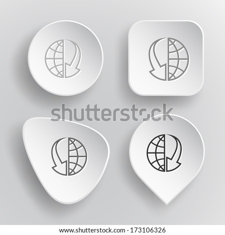 Globe and array down. White flat raster buttons on gray background. - stock photo
