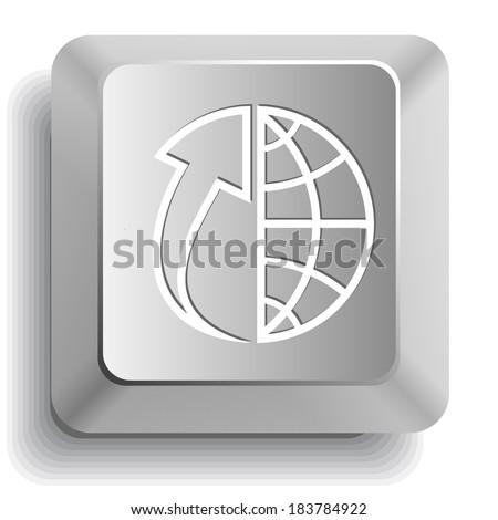 Globe and array up. Computer key. Raster illustration. - stock photo