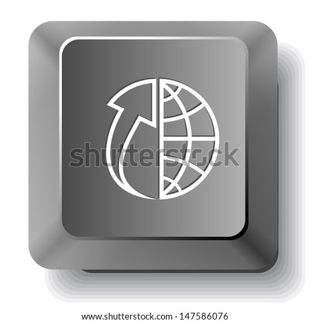 Globe and array up. Raster computer key. - stock photo