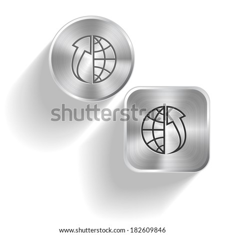 Globe and array up. Raster set steel buttons - stock photo