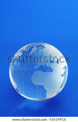 globe and blue copyspace showing showing business or eco concept - stock photo