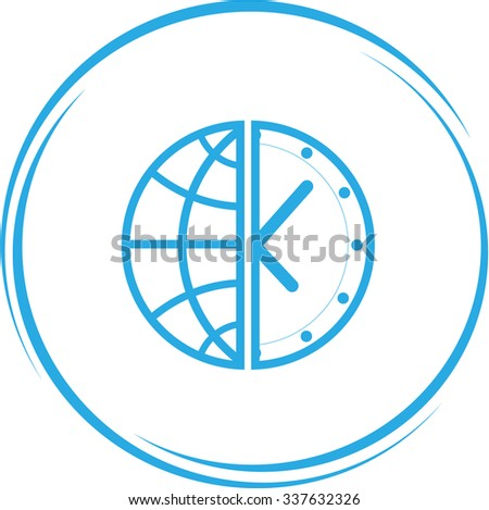 globe and clock. Internet button. Raster icon. - stock photo