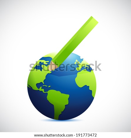 globe and color pencil illustration design over a white background