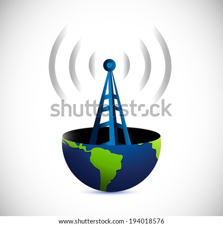 globe and connection tower illustration design over a white background - stock photo
