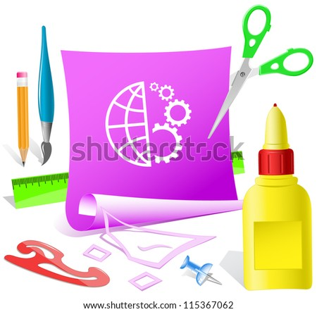 Globe and gear. Paper template. Raster illustration. - stock photo