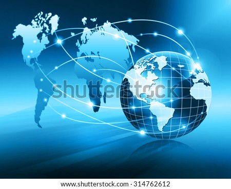 Globe and glowing lines on technological background. Technology background.Electronics, bright lines and rays, symbols of the Internet, radio, television, mobile and satellite communications - stock photo