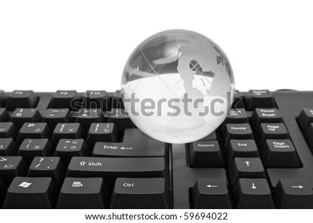 globe and keyboard on a white background - stock photo