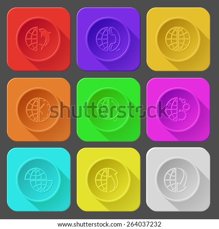 globe and killer whale, and phone, and clock, and magnifying glass, and gears, shift globe, and array up, and array down. Color set raster icons. - stock photo