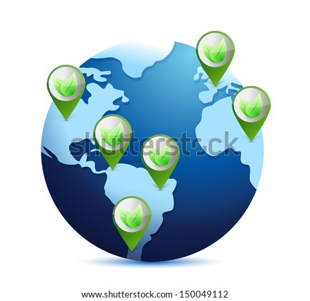 globe and leaves. eco planet concept illustration design over white - stock photo
