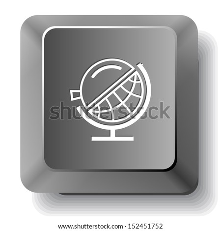 Globe and loupe. Raster computer key. - stock photo