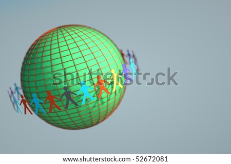 Globe and paper people dolls - stock photo