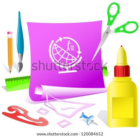 Globe and recycling symbol. Paper template. Raster illustration. - stock photo