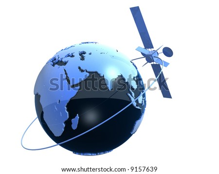 globe and satelite - stock photo