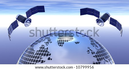 globe and 2 satellites on sky for illustration cover - stock photo