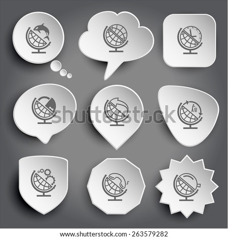 globe and shamoo, and clock, and lock, and arrow, and recycling symbol, and gears, and handset, and loupe. White raster buttons on gray. - stock photo
