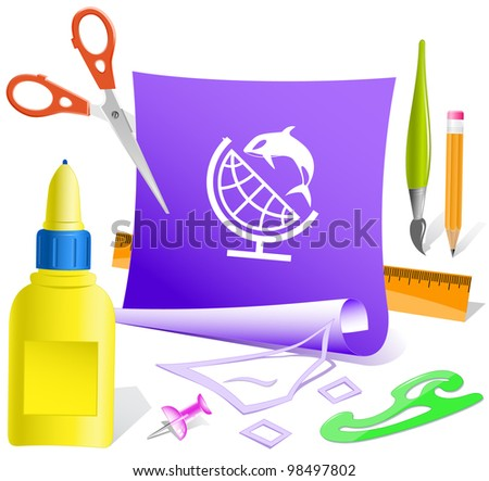Globe and shamoo. Paper template. Raster illustration. - stock photo