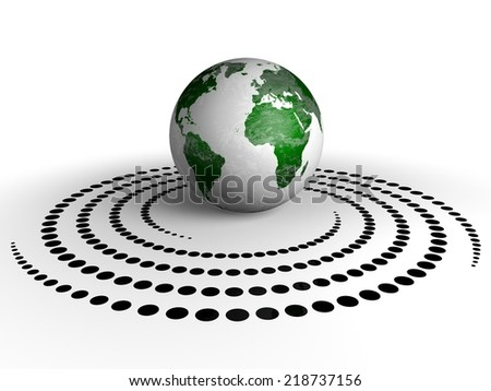 Globe and spiral dots. Elements of this image are furnished by NASA. - stock photo