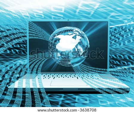 Globe background with binary code flowing from a computer - stock photo