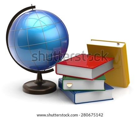 Globe blank colorful book textbooks global geography knowledge studying wisdom adventure literature cartography icon concept. 3d render isolated on white background - stock photo