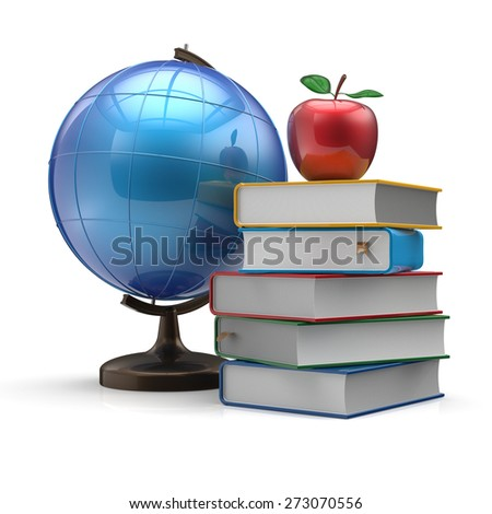 Globe books and apple blank international global geography wisdom literature icon study knowledge symbol concept. 3d render isolated on white background - stock photo
