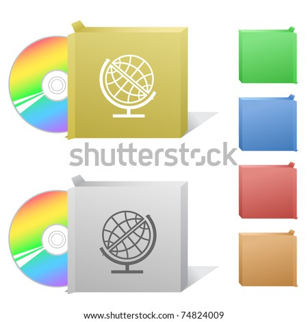 Globe. Box with compact disc. Raster illustration. Vector version is in my portfolio. - stock photo