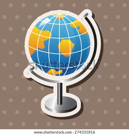 Globe , cartoon sticker icon - stock photo