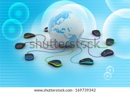 Globe connecting with computer mouse
