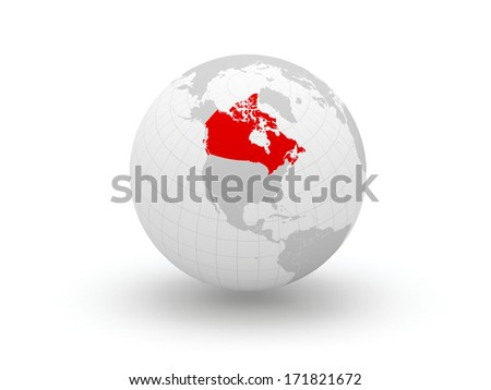 Globe. 3d. Canada. Elements of this image furnished by NASA - stock photo