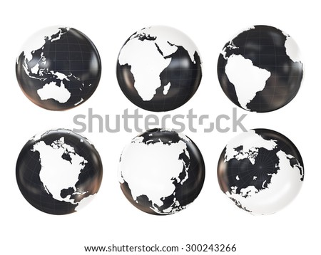 Globe 3D Geopolitical Extruded isolated on white background