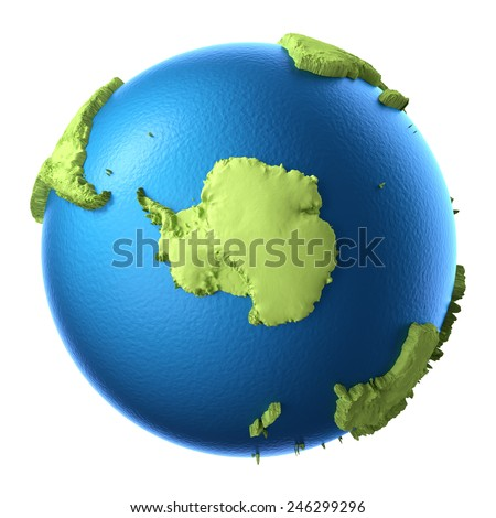 Globe 3d isolated on white background. South Pole. Elements of this image furnished by NASA - stock photo