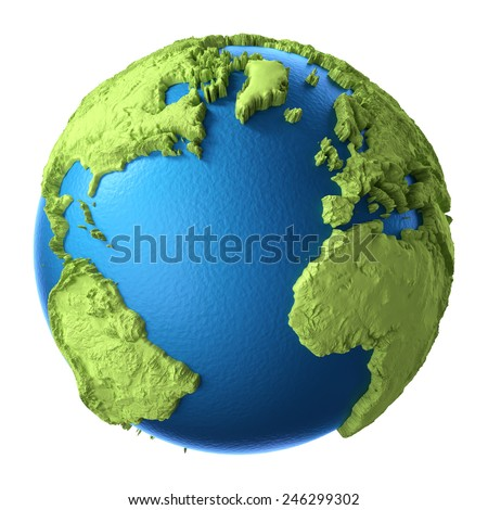 Globe 3d render isolated on white background. Elements of this image furnished by NASA - stock photo