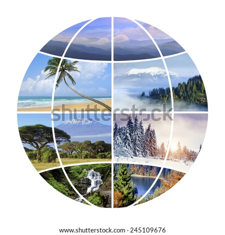 Globe design with photographs nature. Conceptual background - stock photo