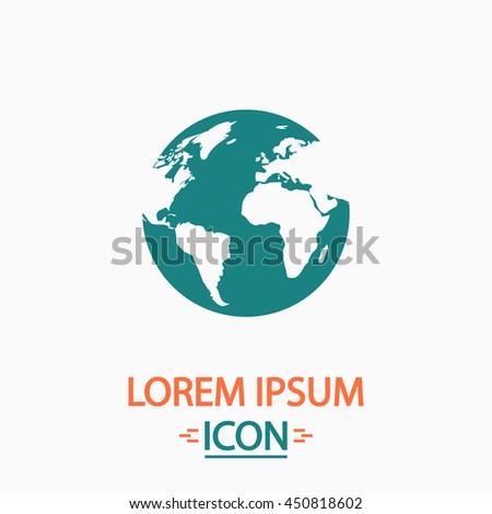 Globe earth. Flat icon on white background. Simple illustration - stock photo