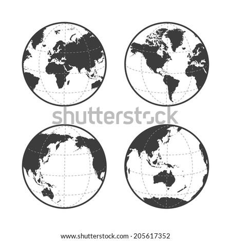 Globe earth icon set on white background. Rasterized version. - stock photo