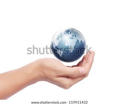 Globe ,earth in human hand - stock photo