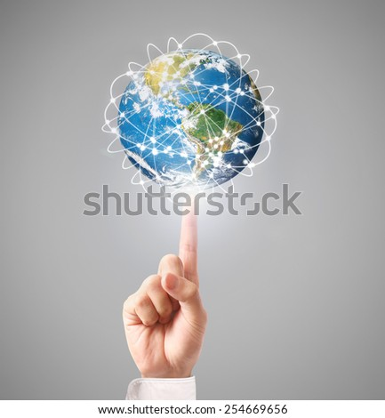 Globe ,earth in human hand, hand holding our planet earth glowing  - stock photo