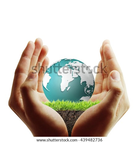 Globe ,earth in human hand, hand holding our planet earth glowing