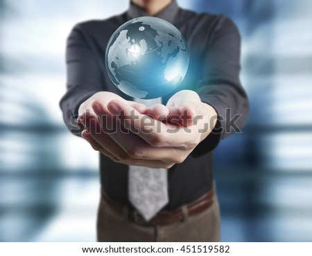 Globe ,earth in human hand, hand holding our planet earth glowing.a - stock photo