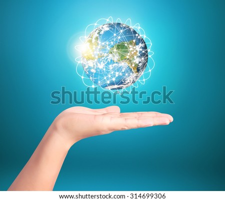 Globe ,earth in human hand, hand holding our planet earth glowing,social buttons,Elements of this image furnished by NASA with path - stock photo