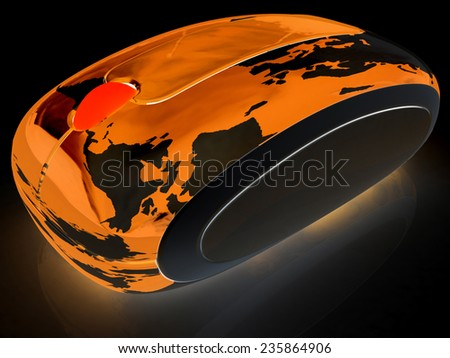 Globe Earth On line on a black background - stock photo