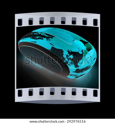 Globe Earth On line on a black background. The film strip - stock photo