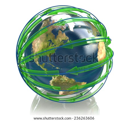 Globe earth with arrows paths - Global business idea - Elements of this image furnished by NASA - stock photo