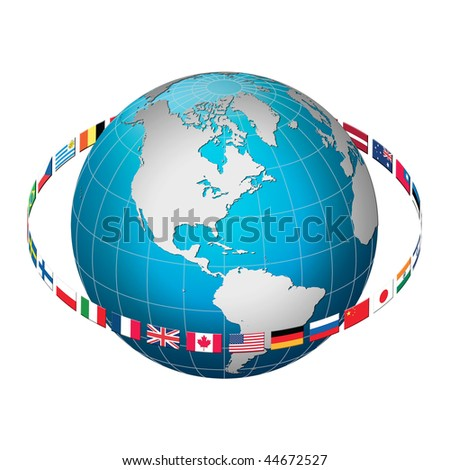 Globe earth with flag ring, America centric - stock photo