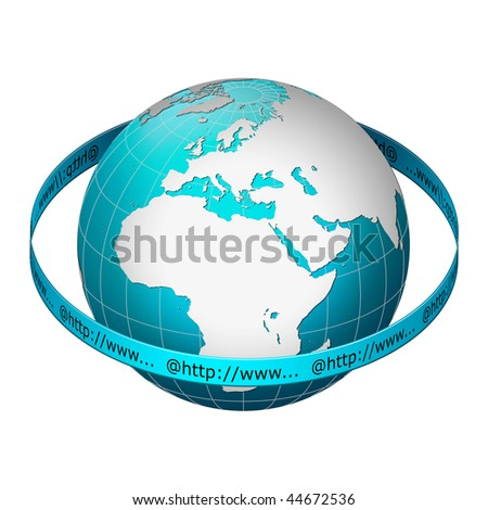 Globe earth with www address ring â?? Europe centric