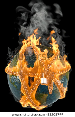 globe entangled by chains in the fire. isolated on black. - stock photo