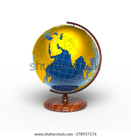 Globe, Eurasia, golden continents - stock photo