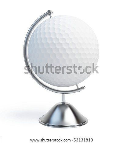 globe golf ball sign - stock photo