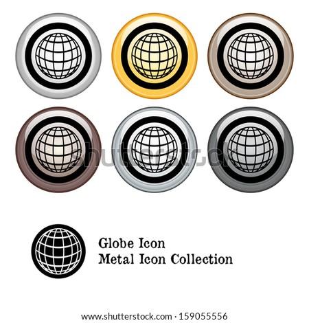 Globe Icon Metal Icon Set. Raster version. - stock photo