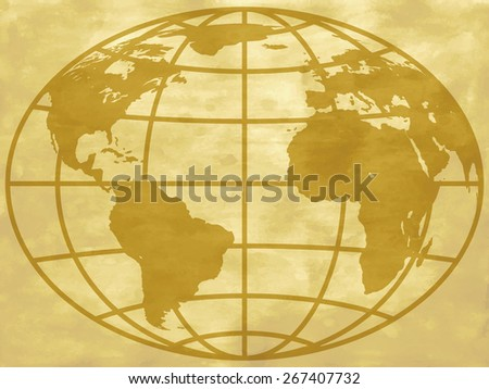 Globe icon on the abstract vintage background. Elements of this image furnished by NASA  - stock photo